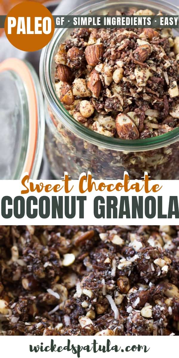 Paleo Chocolate Fudge Coconut Granola - Pinterest image