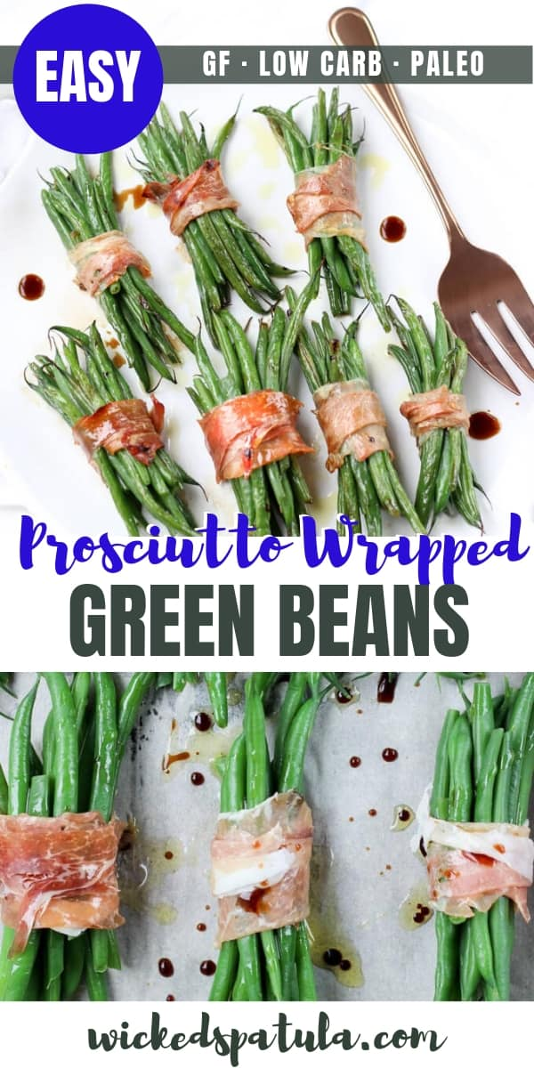 Crispy Prosciutto Wrapped Balsamic Green Beans - Pinterest image