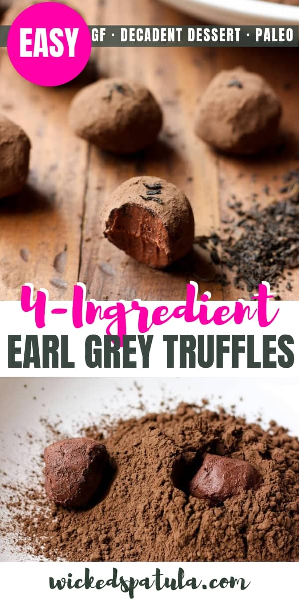 Decadent Dark Chocolate Earl Grey Truffles - Pinterest image