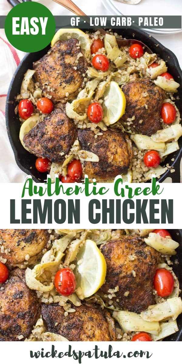 Easy Authentic Greek Lemon Chicken Recipe (One Pan!) - Pinterest image