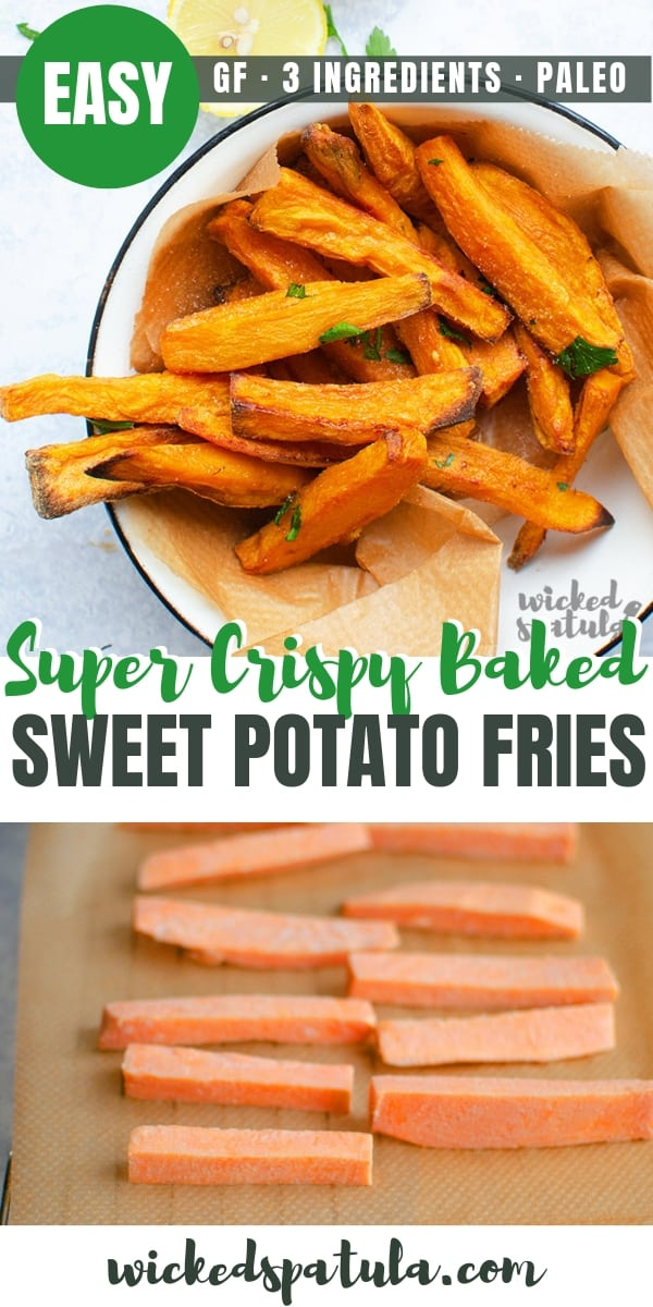 Easy Crispy Baked Sweet Potato Fries Recipe - Pinterest image