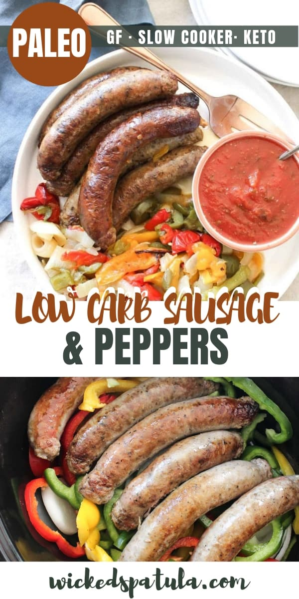 Easy Crock Pot Slow Cooker Sausage and Peppers Recipe - Pinterest image
