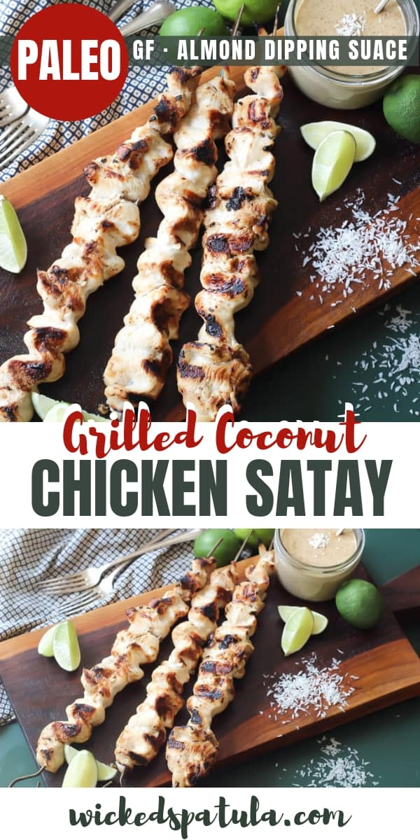 Thai chicken satay skewers with lime wedges and almond dipping sauce