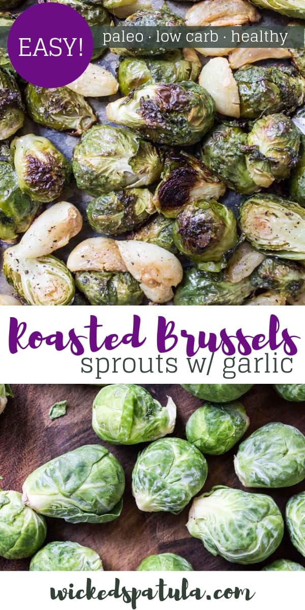 Simple Roasted Brussels Sprouts with Garlic - Pinterest image