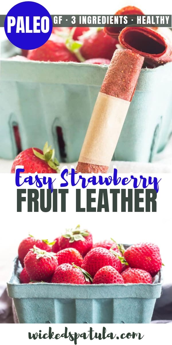 Easy Strawberry Homemade Fruit Leather - Pinterest image