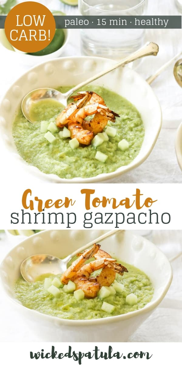 Green Tomato Gazpacho with Grilled Shrimp - Pinterest image