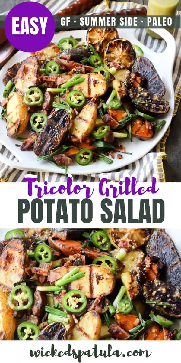 Tricolor Grilled Potato Salad with Bacon, Spring Onions, and Mustard Vinaigrette - Pinterest image