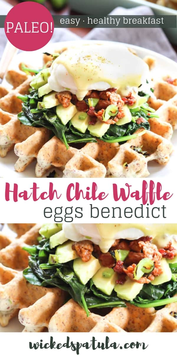 Hatch Chile Waffle Eggs Benedict - Pinterest image