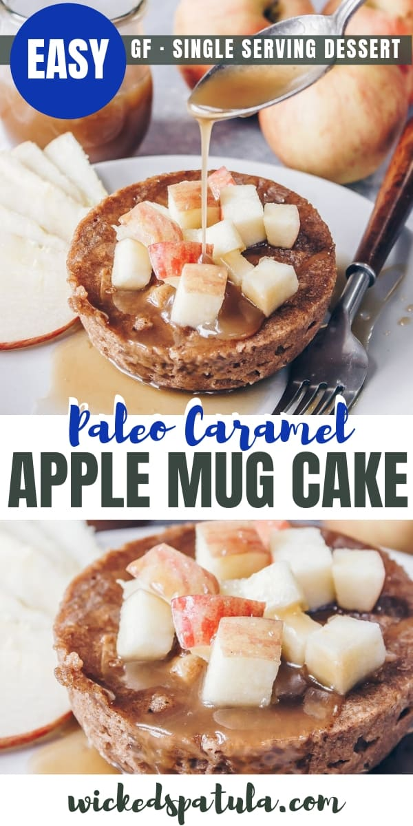 Paleo Caramel Apple Mug Cake - Pinterest image