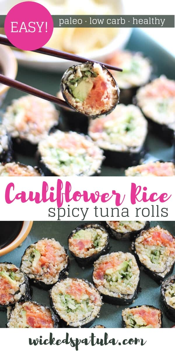 Cauliflower Rice Spicy Tuna Rolls - Pinterest image