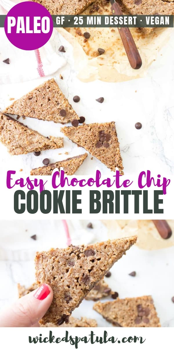 Paleo Chocolate Chip Cookie Brittle - Pinterest image