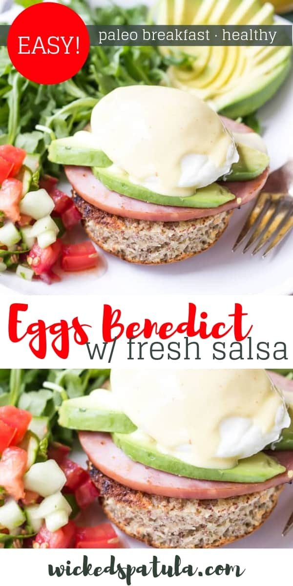 Paleo Eggs Benedict with Cucumber Salsa - Pinterest image