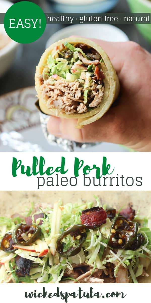 Paleo Pulled Pork Burritos - Pinterest image