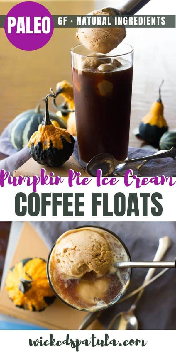 Paleo Pumpkin Pie Ice Cream Coffee Floats - Pinterest image