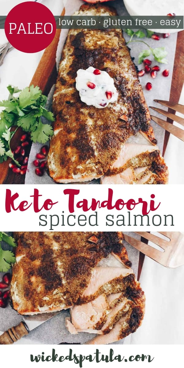Paleo Tandoori Spiced Salmon With Pomegranate Cucumber Raita - Pinterest image