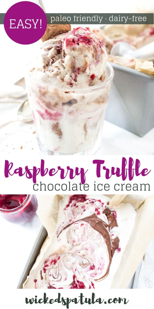 Raspberry Chocolate Truffle Ice Cream - Pinterest image