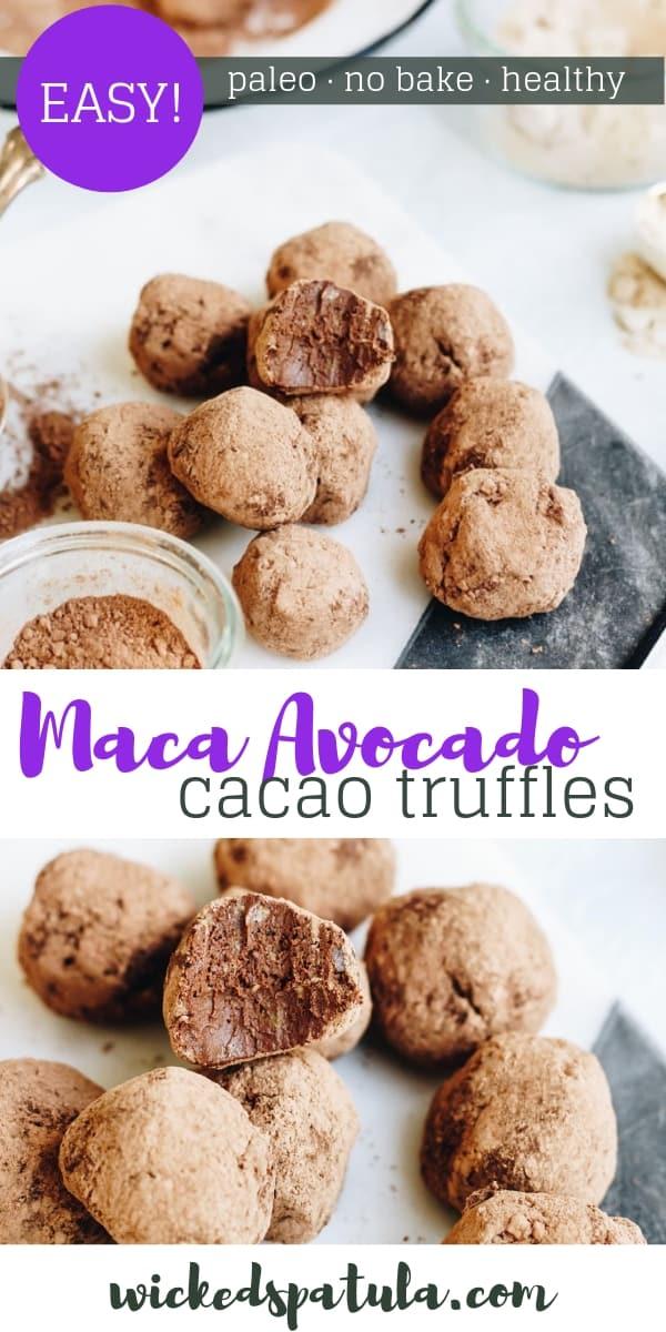 Raw Maca Avocado Cacao Truffles - Pinterest image