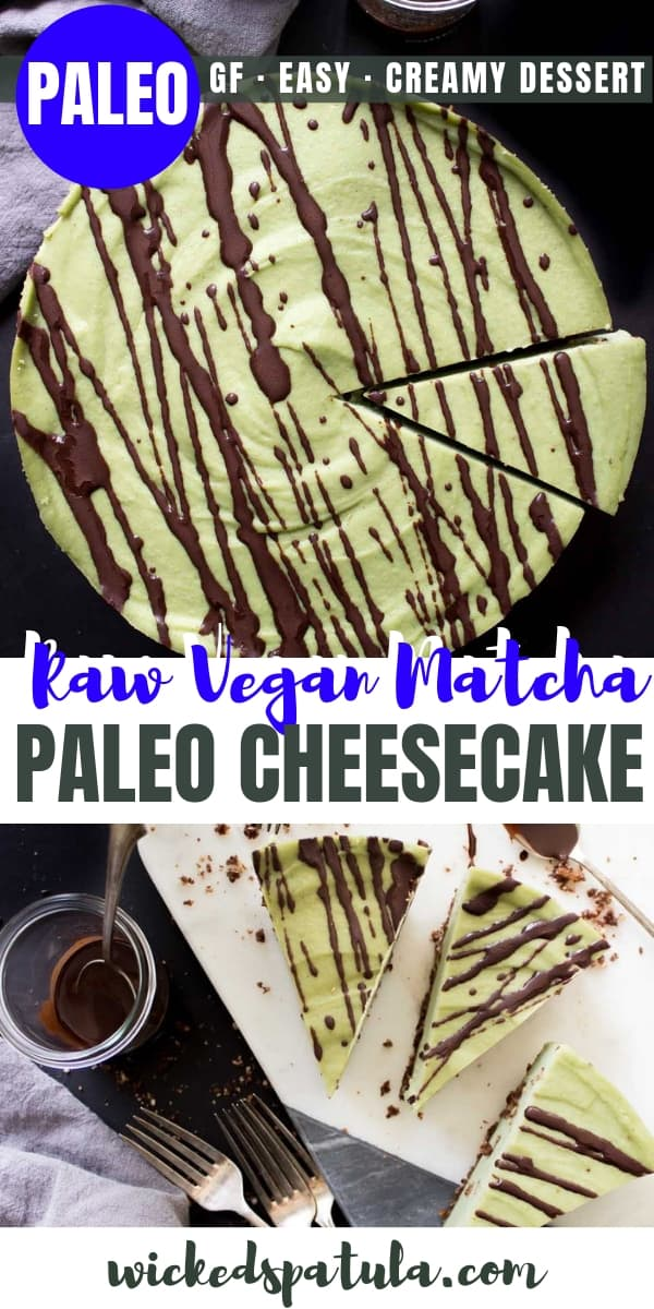 Raw Vegan Matcha Cheesecake - Pinterest image