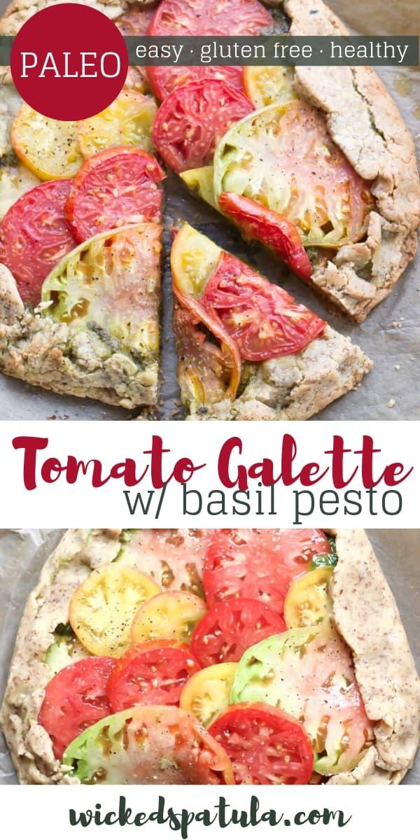 Rustic Paleo Tomato Galette with Arugula Basil Pesto - Pinterest image