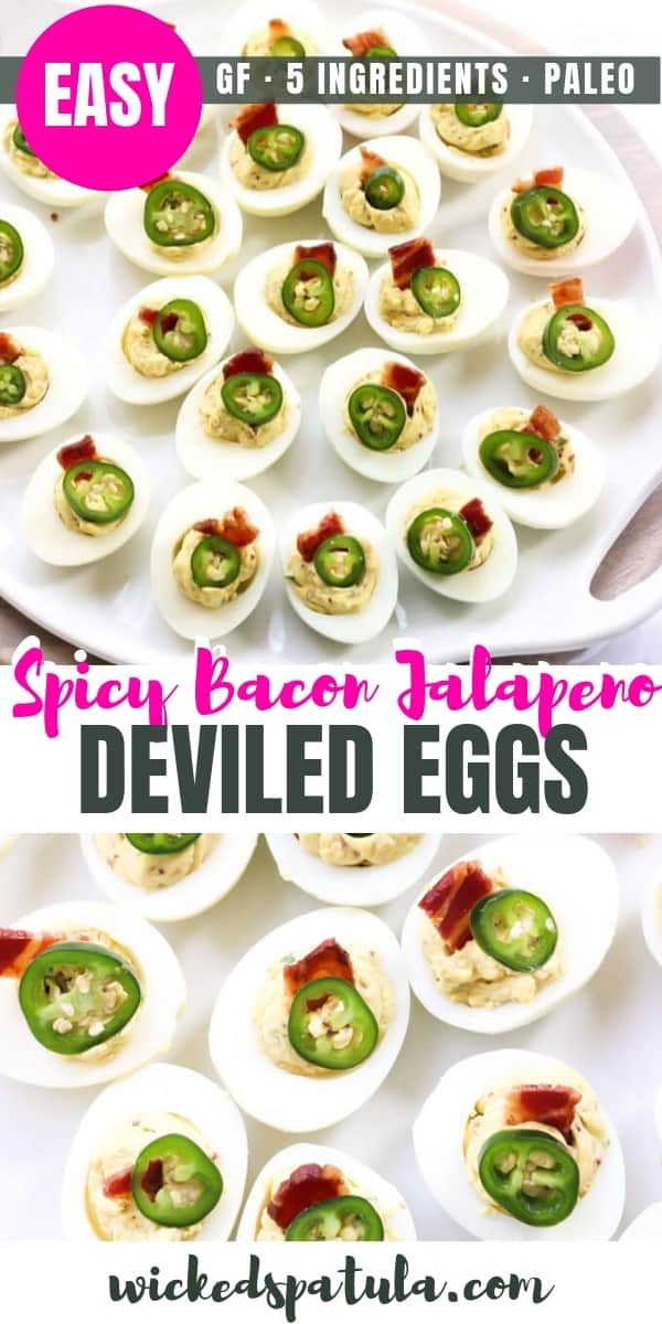 Spicy Bacon Jalapeno Deviled Eggs Recipe - Pinterest image