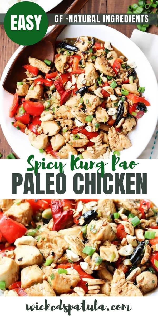 Spicy Paleo Kung Pao Chicken - Pinterest image