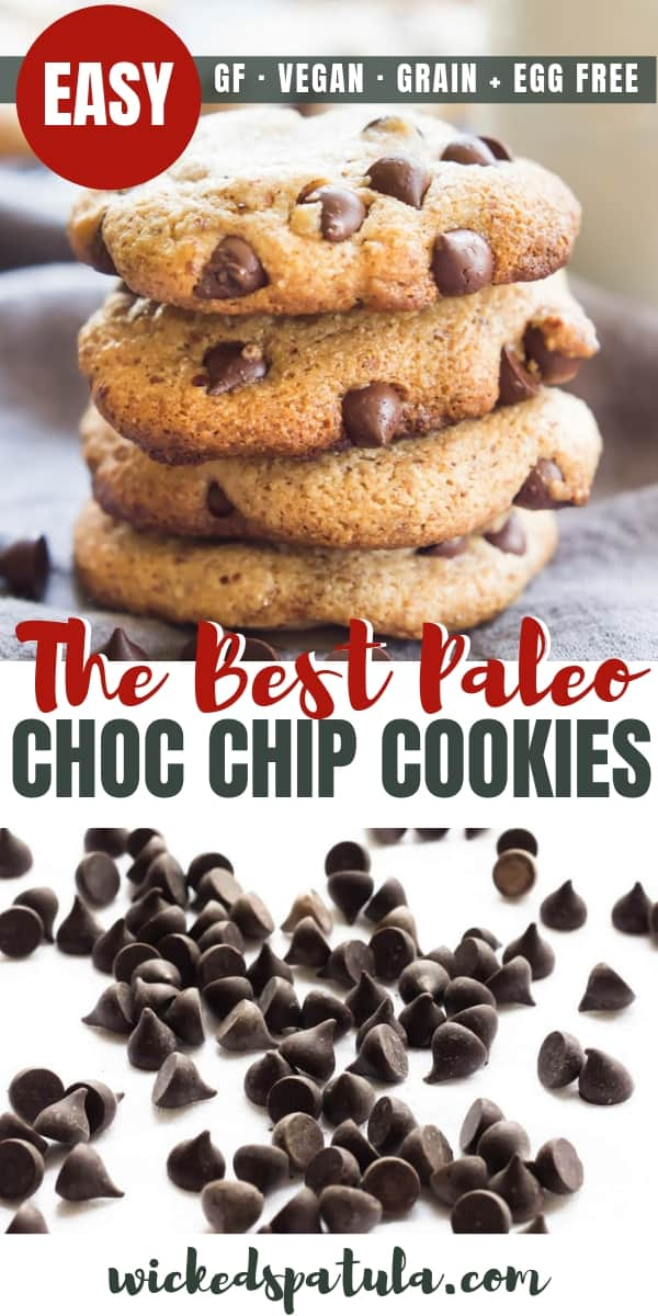 Paleo Chocolate Chip Cookies - Pinterest image